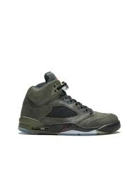 Zapatillas altas de cuero verde oliva de Jordan