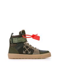 Zapatillas altas de cuero verde oliva de Off-White