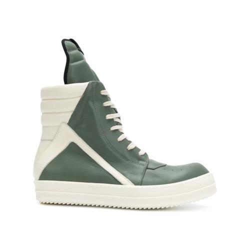 Zapatillas altas de cuero verde oliva de Rick Owens