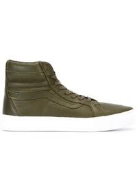Zapatillas altas de cuero verde oliva de Vans