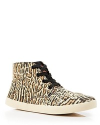 Zapatillas altas de leopardo marrón claro
