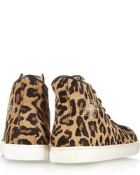 Zapatillas altas de leopardo marrón claro de Charlotte Olympia