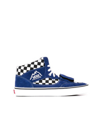 Zapatillas altas de lona a cuadros azul marino de Vans