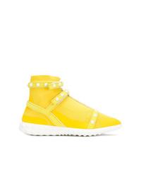 Zapatillas altas de lona amarillas de Valentino