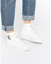 Zapatillas altas de lona blancas de Calvin Klein Jeans