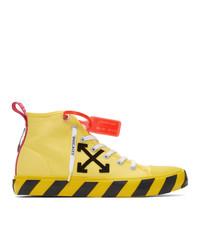 Zapatillas altas de lona bordadas amarillas de Off-White
