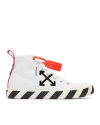 Zapatillas altas de lona bordadas en blanco y negro de Off-White