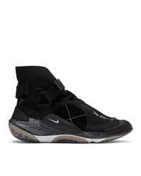 Zapatillas altas de lona bordadas en negro y blanco de Nike