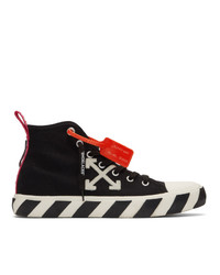 Zapatillas altas de lona bordadas en negro y blanco de Off-White