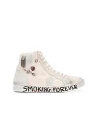 Zapatillas altas de lona con adornos blancas de Saint Laurent