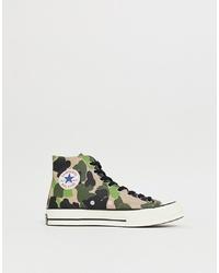 Zapatillas altas de lona de camuflaje verde oliva de Converse
