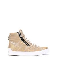 Zapatillas altas de lona doradas de Diesel