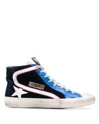 Zapatillas altas de lona en azul marino y blanco