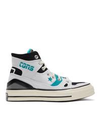 Zapatillas altas de lona en blanco y azul