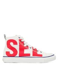 Zapatillas altas de lona en blanco y rojo