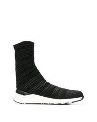 Zapatillas altas de lona en negro y blanco de Casadei