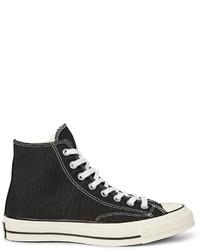 Zapatillas Altas de Lona en Negro y Blanco de Converse