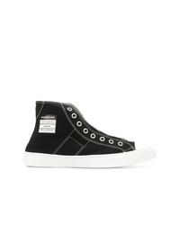 Zapatillas altas de lona en negro y blanco de Maison Margiela