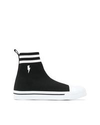 Zapatillas altas de lona en negro y blanco de Neil Barrett