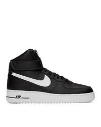 Zapatillas altas de lona en negro y blanco de Nike