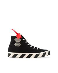 Zapatillas altas de lona en negro y blanco de Off-White