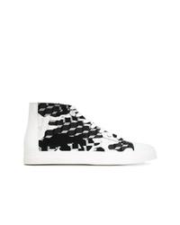 Zapatillas altas de lona en negro y blanco de Pierre Hardy