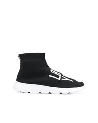 Zapatillas altas de lona en negro y blanco de RED Valentino