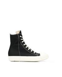 Zapatillas altas de lona en negro y blanco de Rick Owens DRKSHDW