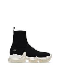 Zapatillas altas de lona en negro y blanco de Swear