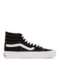 Zapatillas altas de lona en negro y blanco de Vans
