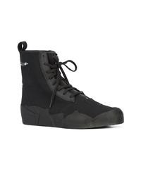Zapatillas altas de lona en negro y blanco de Yohji Yamamoto