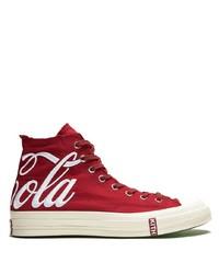 Zapatillas altas de lona en rojo y blanco