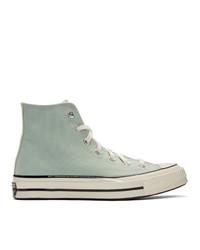 Zapatillas altas de lona en verde menta de Converse