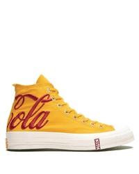 Zapatillas altas de lona estampadas amarillas de Converse