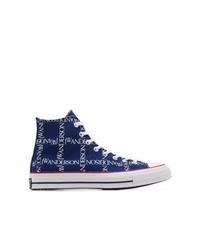 Zapatillas altas de lona estampadas azul marino de Converse