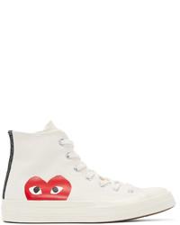 Zapatillas altas de lona estampadas blancas de Comme des Garcons