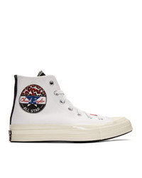 Zapatillas altas de lona estampadas blancas de Converse
