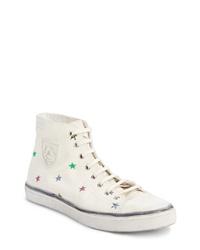 Zapatillas altas de lona estampadas en beige