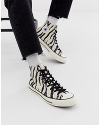 Zapatillas altas de lona estampadas en blanco y negro de Converse