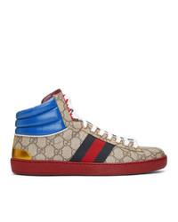 Zapatillas altas de lona estampadas marrón claro de Gucci