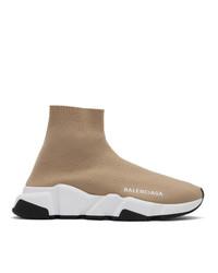 Zapatillas altas de lona marrón claro de Balenciaga