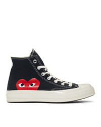 Zapatillas altas de lona negras de Comme Des Garcons Play