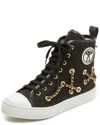 Zapatillas altas de lona negras de Moschino