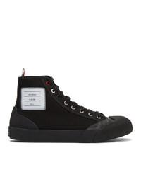 Zapatillas altas de lona negras de Thom Browne