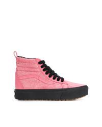 Zapatillas altas de lona rosadas de Vans