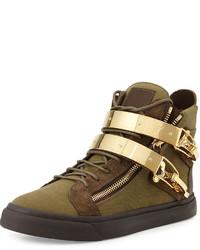 Zapatillas altas de lona verde oliva