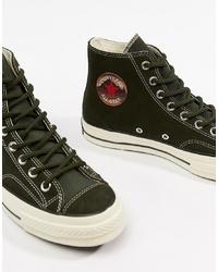 Zapatillas altas de lona verde oliva de Converse