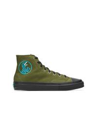 Zapatillas altas de lona verde oliva de Ps By Paul Smith
