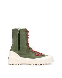 Zapatillas altas de lona verde oliva de Superga
