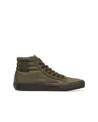Zapatillas altas de lona verde oliva de Vans